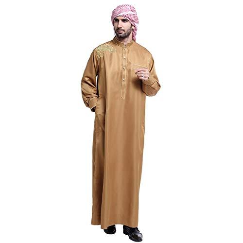 ngzhongtu TH804 Männer Moslemische Tunika Arabischer Naher Osten Kurzarm Kaftan Knopf Robe Islamisches Saudi Arabien Cavta Dubai Abaya Arab - Kamel Farbe - L