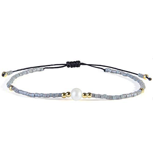 KELITCH Neu Miyuki Wulstig Armbänder Boho Strang Armbänder Armreifen Frau Mischen Perle Armbänder Zum Sommer – Lila