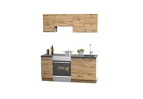 EWK Qualitätsküchen - Küchenzeile 180 cm - Made in Germany - Wotan Eiche Küche ohne Elektrogeräte - Arbeitsplatte in Anthrazit ohne E-Geräte - Einbauküche Küchenblock 180cm