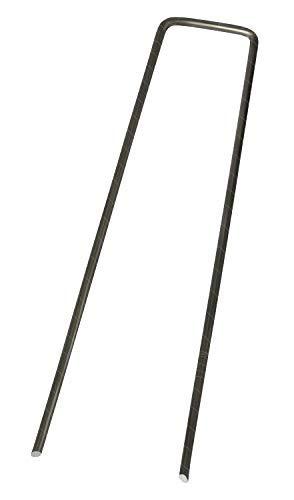 WUEFFE Picchetti a U in acciaio zincato a caldo Antiruggine 15x3 cm. Ø 3 mm. - Ancoraggio a terra telo pacciamatura, reti, erba sintetica (1000, Acciao Zincato)