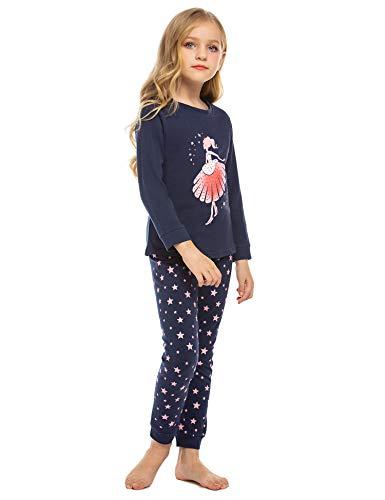 Mädchen Schlafanzug Baumwolle Zweiteiliger Schlafanzüge Langarm Set Kinder Nachtwäsche Winter Pyjama(EIN tanzendes Mädchen Drucken), Navy Blue, 130
