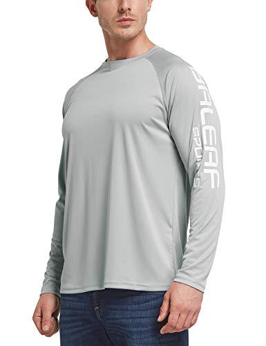 BALEAF Men's Long Sleeve Fishing Shirts UPF 50+ UV Lightweight Quick Dry Shirt for Hiking Running Gray Size L