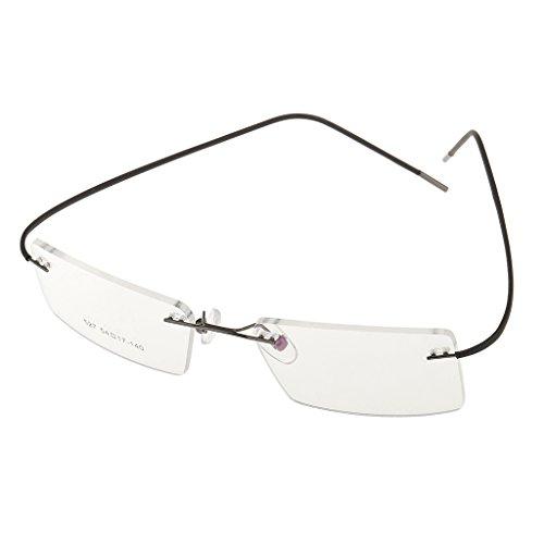 sharprepublic 1x Ble Randlose Optische Myopiebrille Brillengestell Klare Linse - Grau, Einheitsgröße