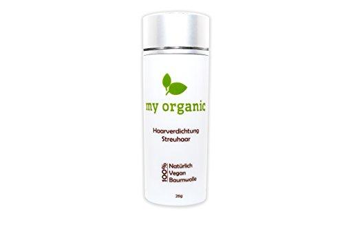 my organic HAARVERDICHTUNG STREUHAAR SCHÜTTHAAR 100% NATÜRLICH & VEGAN - 26g - Soforteffekt gegen Teilglatze und lichtes Haar (MITTELBRAUN)