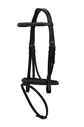 FORFURS - Brida para caballos (coñac, incluye riendas de goma), color negro, Pony, 1