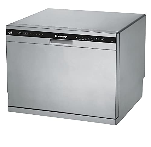 Candy CDCP 6S - Lavavajillas pequeño, Altura 43,8 cm, 6 servicios, 6 Programas, Sistema antidesbordamiento, Inicio diferido, Clase F, Inox