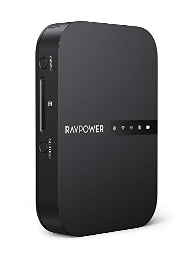 RAVPower Wi-Fi SDカードリーダー ワイヤレス SDカードリーダー ワイヤレス共有 高速データ転送 ワンキーバックアップ 有線LANをWiFi化 ⼤型6700mAhバッテリー内蔵 最大2TBまで対応 iOS/Android対応