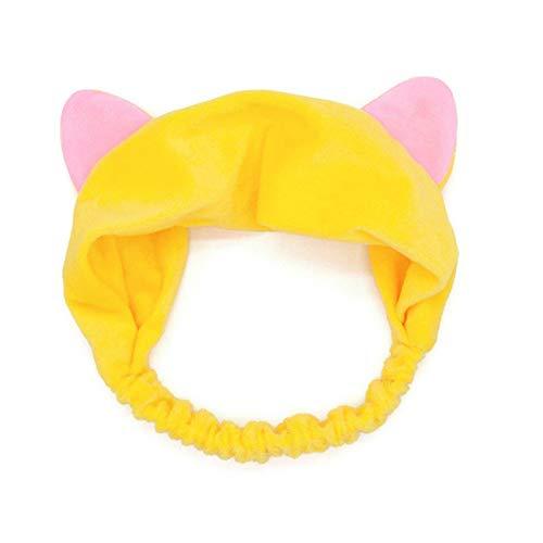 Women's Large Rabbit Ears Soft Elastic Fleece Bath Shower Makeup Face Wash Headband Yellow