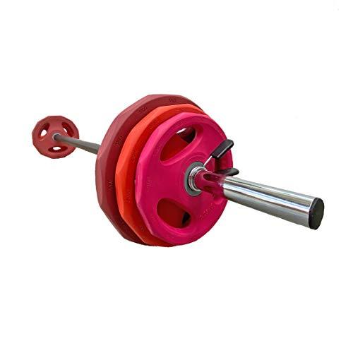 Goodbuy Set Completo Body Pump 30mm, Entrenamiento en el Hogar, Discos Premium, Conjunto Completo para Fitness, 1x Barra 1,40m + 2X Topes + 6X Discos
