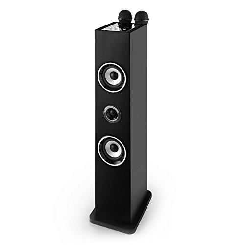 AUNA Karaboom Karaoke para niños - Set de Karaoke Infantil, Duetos, Torre de Sonido con micrófonos, Bluetooth, Puerto USB, Entrada AUX, Reproduce música MP3, Soporte micrófonos, Negro