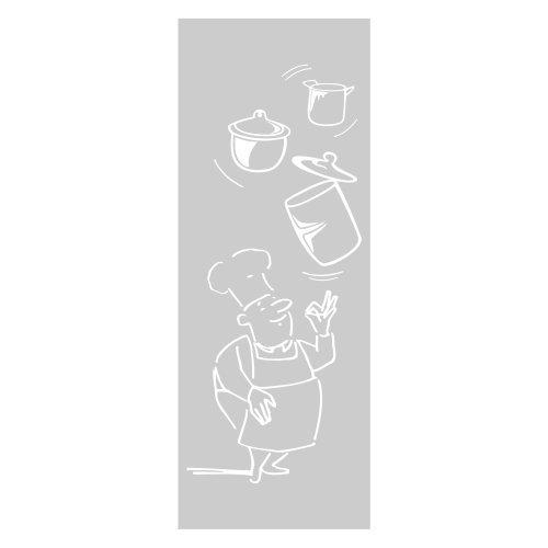 Televinilo - Vinilo cristal mod. 06 cocinero con cacerolas, medidas 55 x 180 cm
