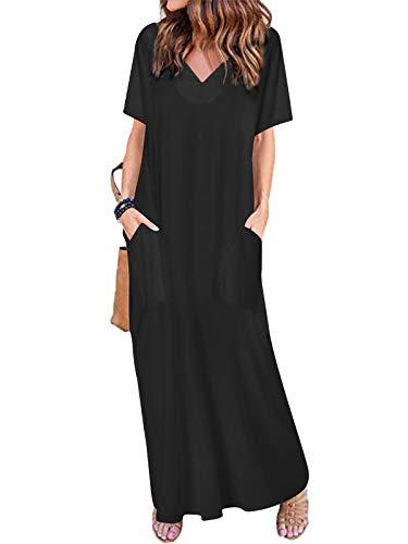 VONDA Sommerkleid Damen Lang Maxikleider für Damen V-Ausschnitt Strandkleid Kurzarm Casual Kleider Elegant Mit Taschen C-Schwarz S