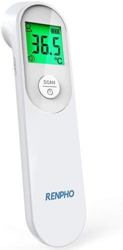 Termómetro frontal de infrarrojos sin contacto RENPHO, Termómetro con pantalla retroiluminada tricolor, Modos de medición para personas y objetos, Válido para su uso en adultos, bebés y ancianos