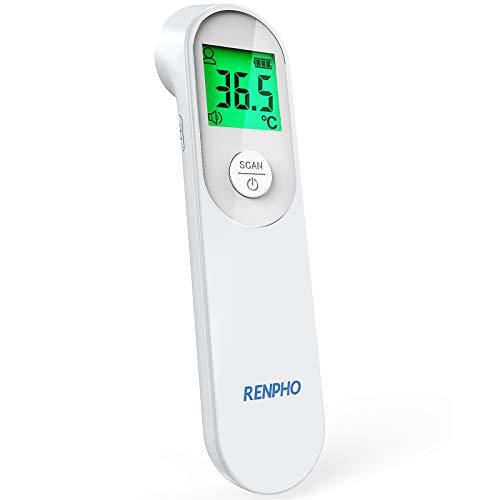 Infrarot Fieberthermometer Kontaktlos, RENPHO Digitales Stirnthermometer mit Fieberalarm, Sofortige Messung für Körpertemperatur, Umgebungs und Oberflächentemperatur, bei Erwachsene, Kinder und Baby
