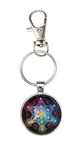 Schlüsselanhänger, Taschenschmuck, Mandala, Stern mit 6 Zacken, mit Karabinerhaken