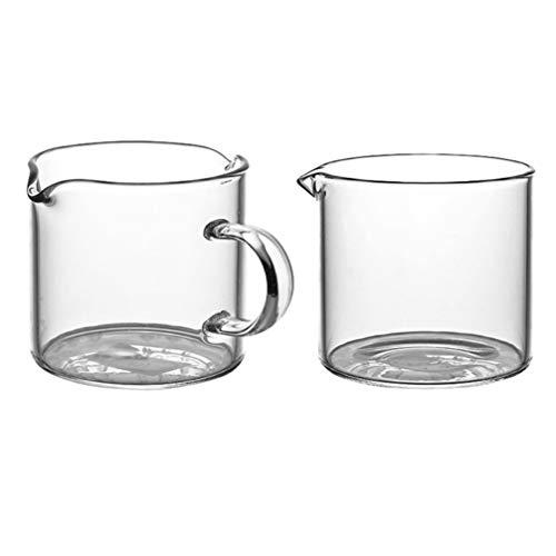 Hemoton Juego de 2 jarras de leche, jarra de cristal, vaso medidor, salsera, jarra para café, café, café, espuma de leche