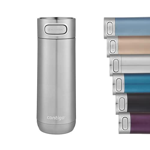 Contigo Luxe Autoseal Thermobecher, Edelstahl-Reisebecher, Isolierflasche, auslaufsicherer Becher, spülmaschinenfest, Kaffeebecher mit Easy-Clean-Deckel BPA-frei; Stainless Steel, 360 ml