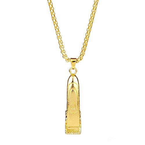 Anhänger Halskette Schmuck Friseur Friseur Werkzeuge 3D Rasierklinge Anhänger Halskette Schere Clippers Herrenmode Kreativer Schmuck-Gold