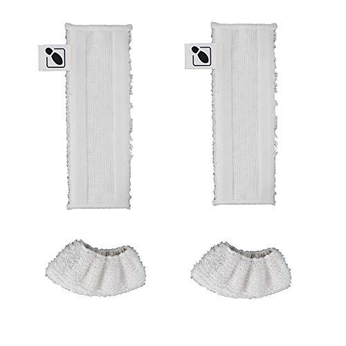DEYF 2 Mikrofaser-Bodenhandtuch-Stoffset für Kärcher EasyFix SC2-, SC 3-, SC4-, SC5-Bodendüse + 2 Mikrofaser-Abdeckungssatz für Karcher Steam Cleaner SC-Serie Griffdüse 3.5€/Stück