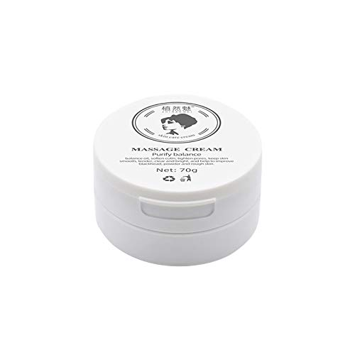 Bamboo Charcoal Facial Massage Cream for Face 70g - Professional Natural Facial Purifying and Balancing Massage Cream for Sensitive Skin Exfoliating Deep Cleansing Facial Cleansing