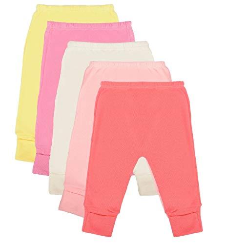 Calça Mijão Bebê Kit 5 Peças Feminino Algodão Cor:Rosa;Tamanho:Recém-nascido