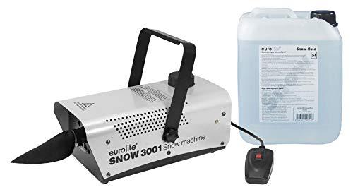 Eurolite Snow 3001 Schneemaschinen Set (Mini-Schneemaschine mit 700W & Schneeflocken-Ausstoß bis zu 2m im Set inkl. 5l Schneefluid)