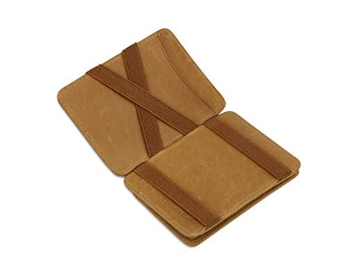 Hunterson Flacher Geldbeutel Fuer Herren aus Leder, Magic Wallet mit RFID-Schutz, Geldboerse mit Muenzfach und Platz Fuer 6 Karten, Cognac