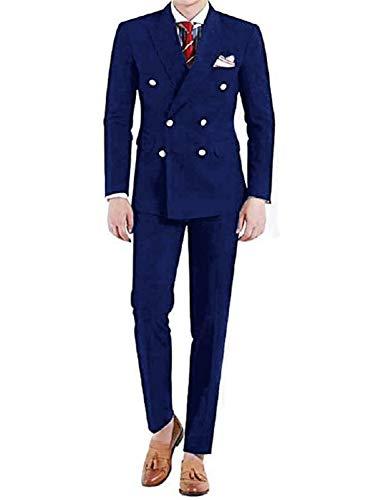 Frank Men's 2-Piece Suit Peaked Lapel Double Breast Tuxedo Slim Fit Dinner Jacket & Pants Navy Blue