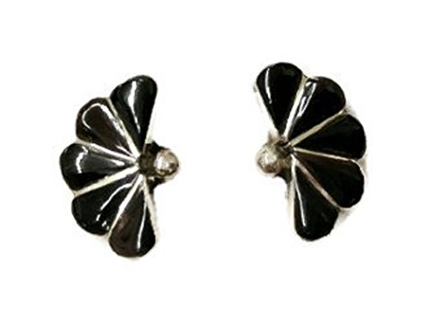 .925 Sterling Silver Native American Handcrafted Jewelry Jet Earrings