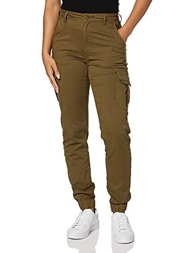 Urban Classics Damen Ladies High Waist Cargo Pants Hose, Olive, 28