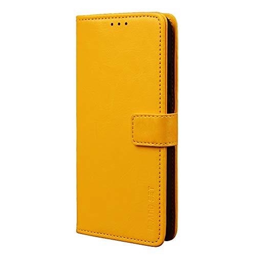 BaiFu Handyhülle für Asus Zenfone 7 Pro ZS671KS Hülle mit Kartenfach Magnetisch Premium Leder Flip Schutzhülle Tasche Hülle Brieftasche Etui lederhülle Kompatibel mit Asus Zenfone 7 Pro ZS671KS -Gelb