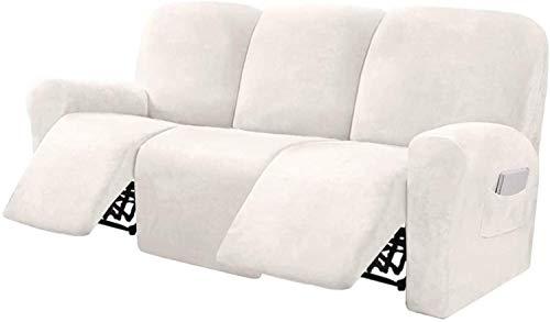Pillowcase Funda de sofá reclinable de Terciopelo elástico de 8 Piezas Fundas de sofá reclinables para Fundas de Muebles de sofá de 3 plazas para sillón reclinable con Bolsillo Lateral (Marfil)