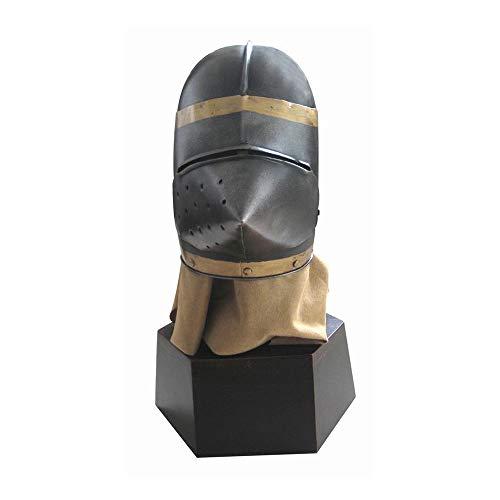Nvshiyk Disfraz Medieval Guerrero Armor Metal Torneo Medieval Caballero Cerrado Casco Accesorios Accesorio para Sombreros de Disfraces (Color : Black, Size : 36x33x61cm)