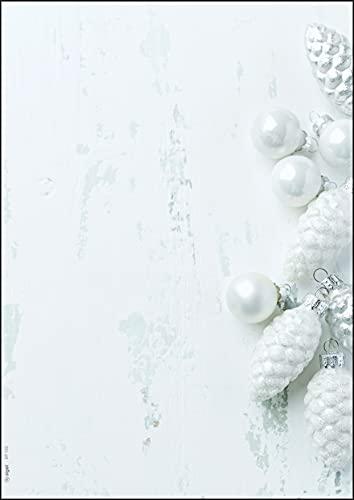 SIGEL DP132 Papel navideño, adornos navideños, 21 x 29,7 cm, 90 g/m2, blanco y gris claro, 100 hojas