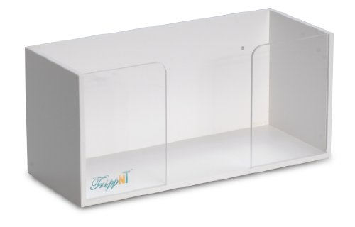 "TrippNT 50026 White PVC and Acrylic Single Top Loading Glove Box Holder, 11.5"" W x 5.25"" H x 4.75"" D"