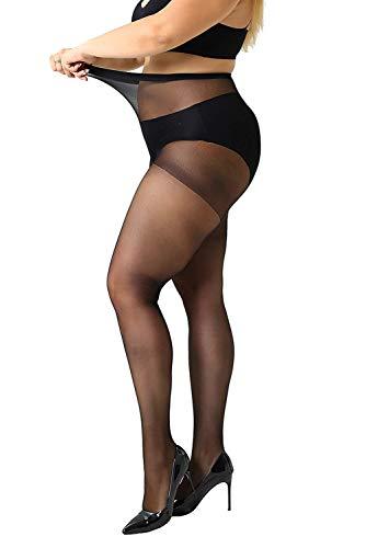 MANZI Damen Strumpfhose 2 or 4 Paar Plus Größen XL-4XL(44-62), 4 Paar Schwarz, 20 Denier XXXXL