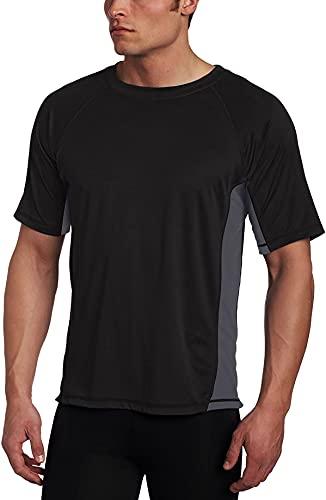 Kanu Surf mensCb Rashguard UPF 50+ Swim Shirt (Regular & Extended Sizes) Rash Guard Shirt - Black - XXXXX-Large
