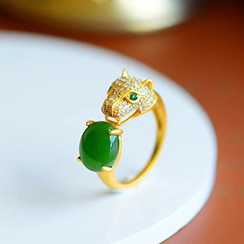 JIUXIAO Anillo de Fideos de Huevo de Jade Verde de Jade de Hetian NaturalAnillo de Cabeza de Leopardo de EstiloCalienteAnillo de Pareja con Incrustaciones de Oro Antiguo