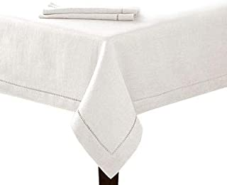 New 60x84 White Hemstitch Single Border Tablecloth