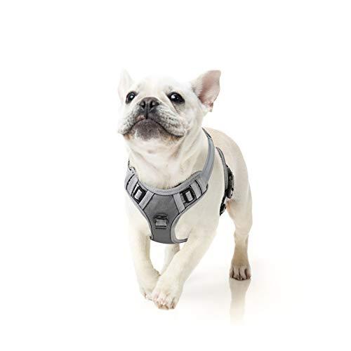 HEELE Hundegeschirr Verstellbar Geschirr Hund Brustgeschirr Reflektierend Dog Harness Ausbruchsicher Atmungsaktiv Hundegeschirr für Kleine Mittlegroße Kleine Hunde Grau S
