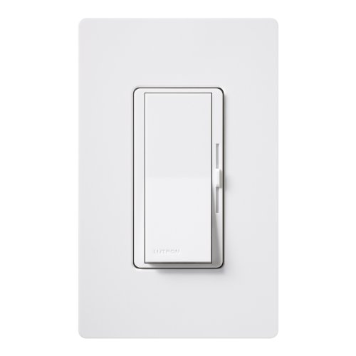 Lutron Diva LED+ Dimmer for Dimmable LED, Halogen and Incandescent Bulbs with Wallplate | Single-Pole or 3-Way | DVWCL-153PH-WH | White
