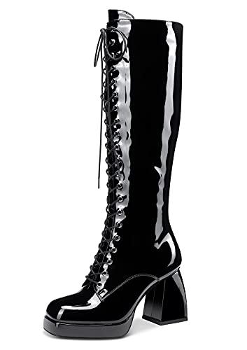 CASTAMERE Donna Stivali Metà Polpaccio Cerniera Boots Plateau Tacco a Blocco 8.5CM High Heels Nero Pelle Verniciata Scarpe EU 44