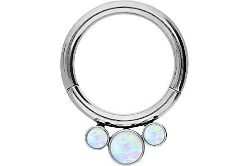 PIERCINGLINE Chirurgenstahl Segmentring Clicker | 3 Synthetische Opale | Piercing für Septum Tragus Helix u.v.m | Farbauswahl