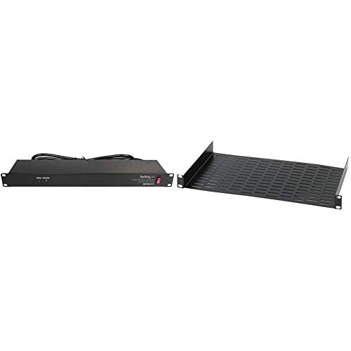 "StarTech.com 8 Outlet Horizontal 1U Rack Mount PDU Power Strip, Black & Raxxess UNS1 Vented Universal Tray Shelf for 19"" Server, Bottom Slots for Mounting Non Half-Rack Equipment, Black"