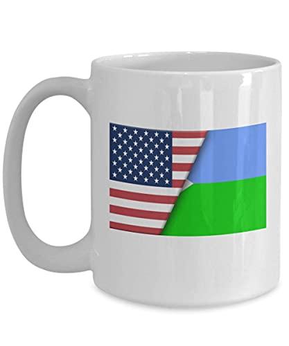 Weiße Kaffeetasse mit USA-Flagge von Dschibuti, Geschenk für Einwanderer