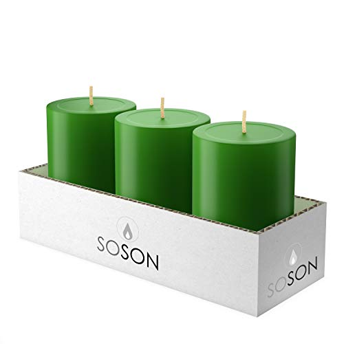 Simply Soson 3x4 Inch Christmas Green Smooth Long Burn Pillar Candles Bulk, Unscented, Drip-less Candle Sticks. Cotton Wick Scent Free Paraffin Wax. Slow Burning Party and Home Decoration (Pack of 3).