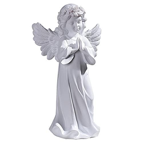 XIHUANNI Estatua de ángel, decoración del hogar, arte religioso de resina, linda figura de comodidad espiritual para decoración del hogar del coche