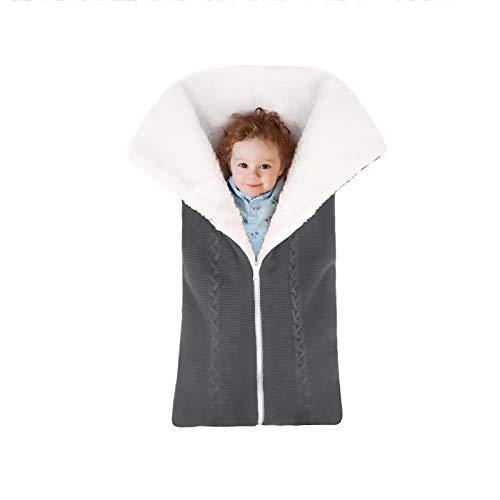 Newborn Sleeping Bag, Knitted Fleece Blanket Stroller Wrap Sleeping Sack, Soft Blanket Photography Props for 0-12 Month Boys Girls(Grey)