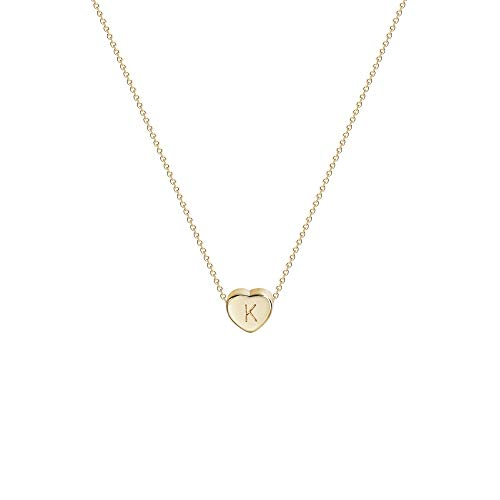 Fettero Tiny Gold Initial Heart Necklace-14K Gold Filled Handmade Personalized