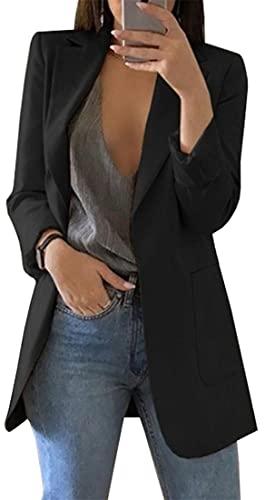 OLIPHEE Mujer Blazer Traje De Chaqueta Ropa Trabajo Casual OL Oficina Negocio con Bolsillo Negro-3XL